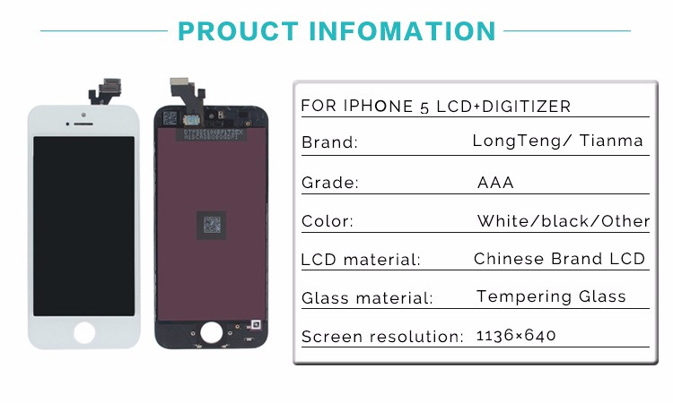 factory price brilliant quality AAA+ phone unlocked screen for iphone 5 lcd