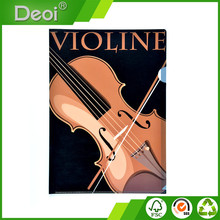 A0080 factory price A4 pp L shaped file folder with violin picture
