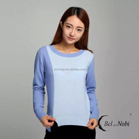 100% Cashmere color-color round collar under shirt