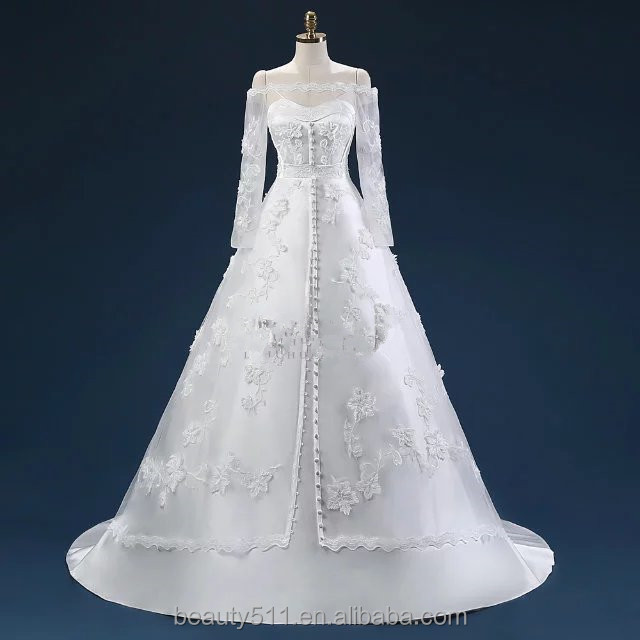 New style Elegant A-line Sweetheart Lace With Jacket Long Sleeve Plus Size Court Train white wedding dress Bridal Gown ED577