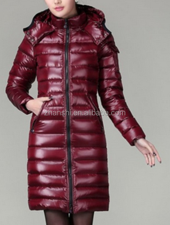 European Style Brand Name Shiny Long Down Coat For Women