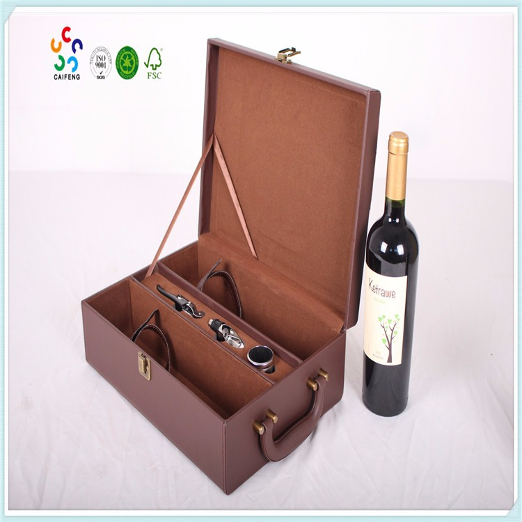 2016 top quality 2 bottle leather wine carrier gift box