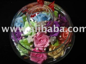 CHIRSTMAS GIFT/WEDDING GIFT/HANDMADE SOAP CRAFT ROSES FLOWER IN GLASS