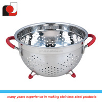 Stainless Steel Fruit colander With Silicone Handle