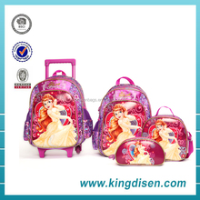 Top quality brand leather 3D kids school bag with trolley for teenager girls