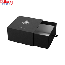 Customized print glod silver foil box packaging luxury black watch box gift wedding invitation rigid paper jewelry drawer box