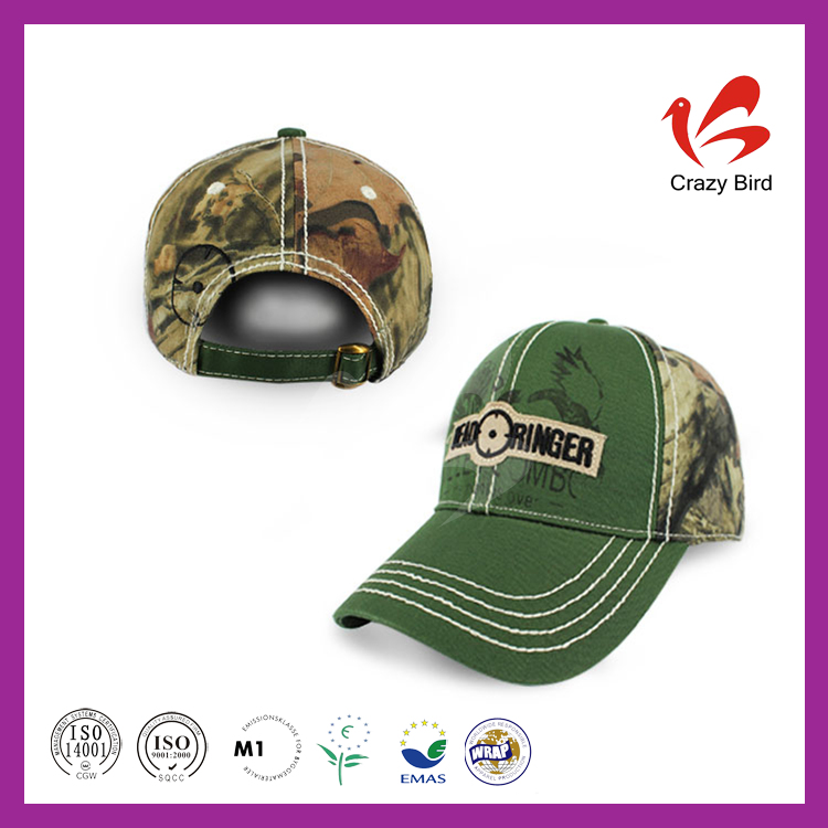 New style 6 panels camouflage fabric green 7.5CM brim length Crazy Bird us army baseball caps
