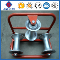 Galvanized Steel Frame Three Nylon Wheels Electric Cable Pulley & Cable Rollers