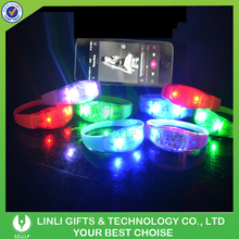 Music Activated Glowing LED Bracelet, Flashing Wristband, Light Up Bangle With Logo