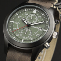 INFANTRY Vintage Military Mens Outdoor Cool Chronograph Brown Leather Green ZULU Straps Night Vision Watch Set
