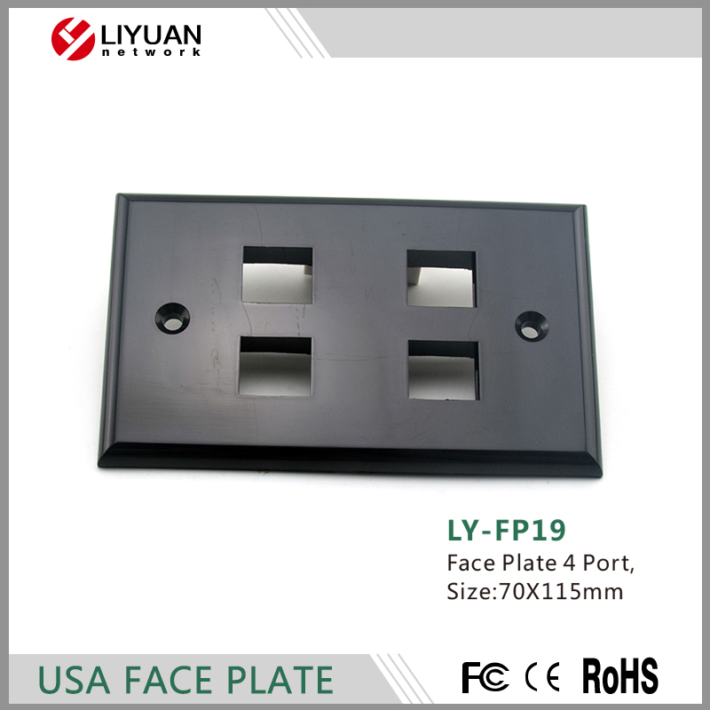 LY-FP19 rj45 face plate rj45 wall plate usa type 4 ports faceplate