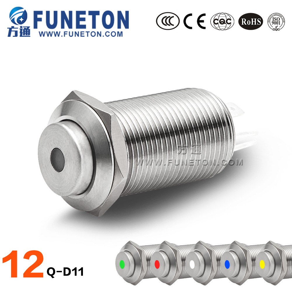 Hot sale 3A safety switch metal push button switch, 12mm dot light push button light switch
