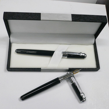 Shenzhen Fountain Pen Factory Direct Sale Production Advertising Items,Luxury Black Metal Fountain Pen With Gift Box