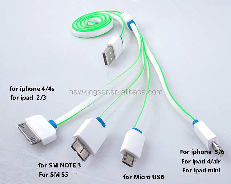 Wholesale 4 in 1 USB Charging Cable Mobile Phone Charger Adapter Cable