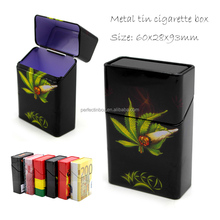 fancy metal Cigarette box packaging tin box with hinged lid