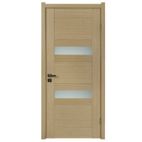 Wood glass panel design single plain door