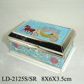 Exquisite Enamel Silver Shiny Alloy Trinket Box