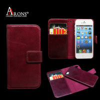 Flip folio phone case detachable wallet leather case for iphone 5