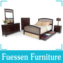 Cherry Veneer Queen Bed With Storage Box Home Bedroom <strong>Furniture</strong>
