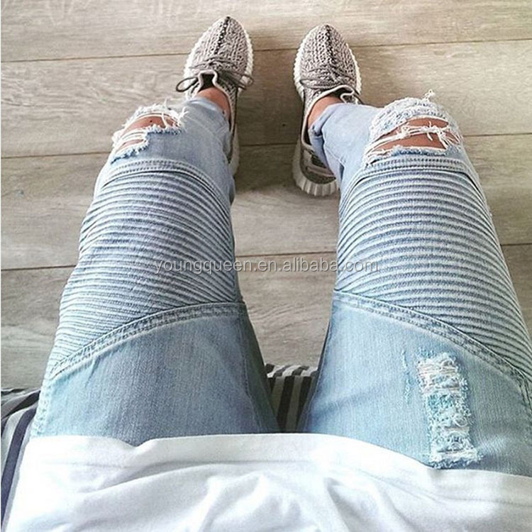 TP22 Men's ripped jeans brand High Street washing slim jeans