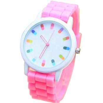 Student Fancy Style Capsule Watches Children Fashion Candy Colors Watch Kids Cute Design Silicone Bands Wristwatch
