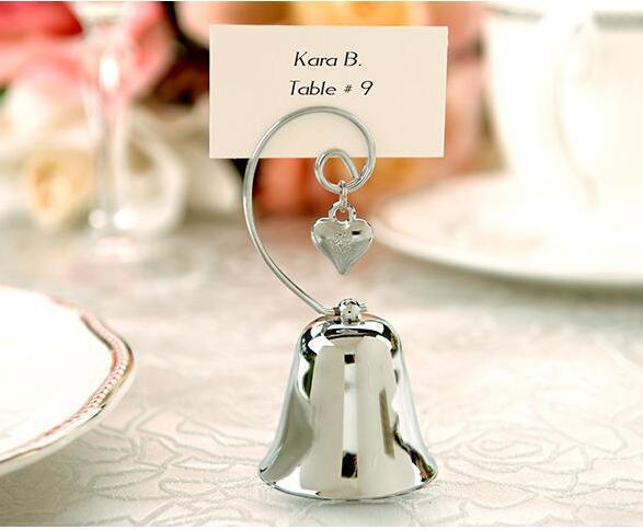 Silver kissing bell tyle place card holder wedding table decoration