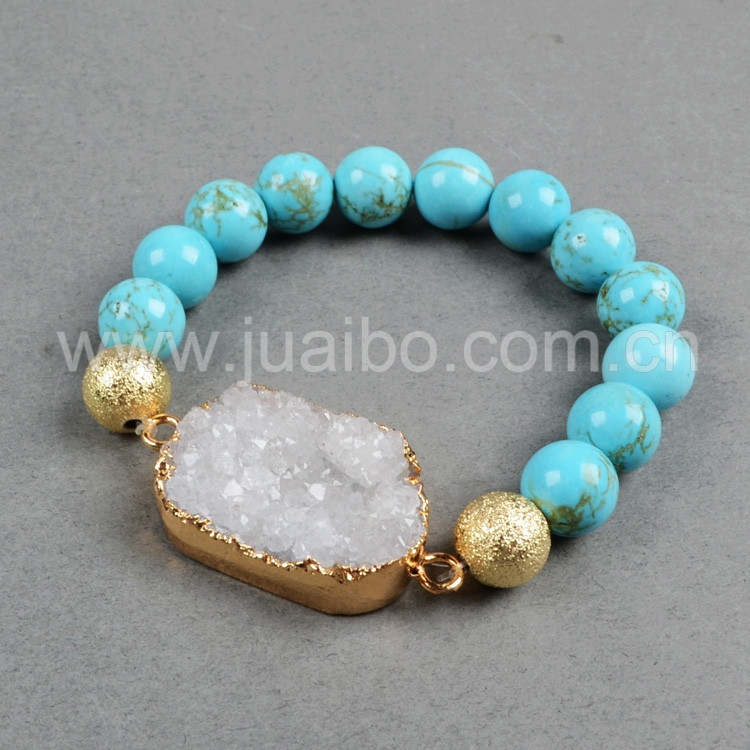 natural oval druzy geode beaded stretch bracelet with loose blue turquoise stone beads