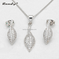 High Quality Micro Pave Setting Rhodium Plated CZ Party Jewelry Set