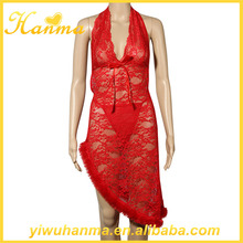 Hot transparent red mature lingerie sexy ladies sleeping night gown