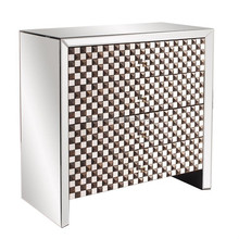 classsic brown cell face mirror studded drawer cabinet table