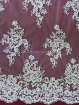 2014 ivory embroidery guipure wedding lace/ tulle cotton bridal lace fabric