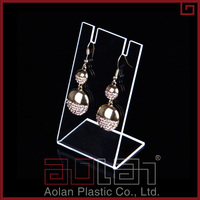 hot selling plexiglass products black acrylic earring display lucite necklace holder jewelry stand