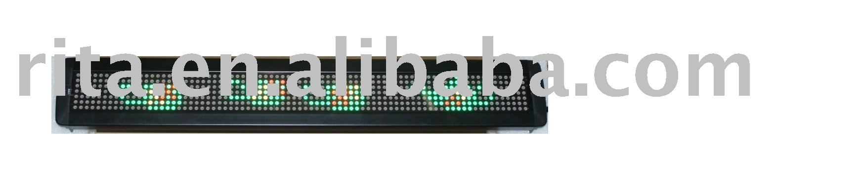 red and green one line led moving sign,13 characters with 53mm high font;P7.62mm;Pixel Resolution:7*80;16100*660*34mm
