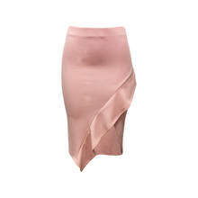 New Fashion Polyester Spandex Ladies Latest Design Sexy Office Wear Slit Front Side Ruffle Pink Color Tight Midi Pencil Skirt
