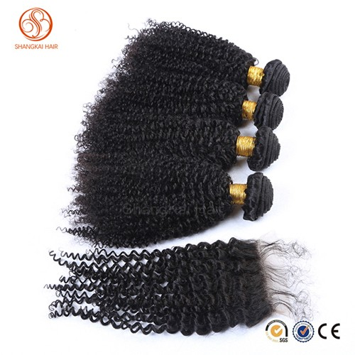 Grade 8A Sex Goddness Brazilian Hair Weaves kinky Curly Hair With Lace Closure No Shedding And Tangle Free Hair Weaving