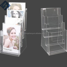 Good Design Three Sides Transparent Acrylic Magazine / Newspaper / Leaflet Display Stand