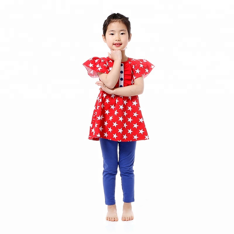 Bouitique short sleeve star july 4th ruffle kid baby clothes girl outfits