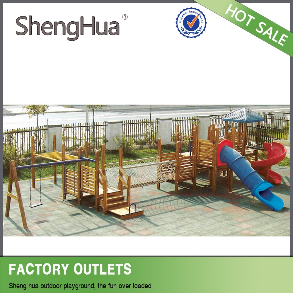 Hot sale wooden outdoor playground slide playsets