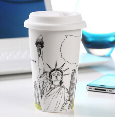 Popular coffee mug travel tumbler <strong>12</strong> oz ceramic travel mug with silicone lid.