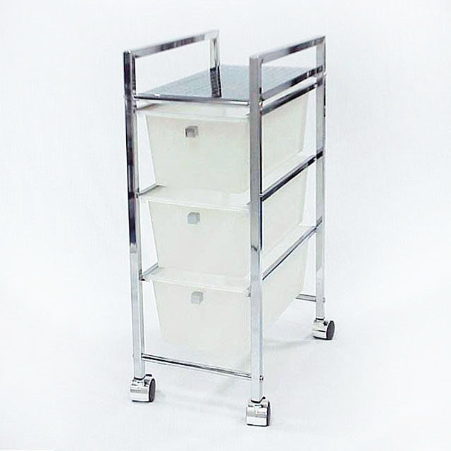 Plastic Three Tiers Storage Drawer Trolley with Wheels