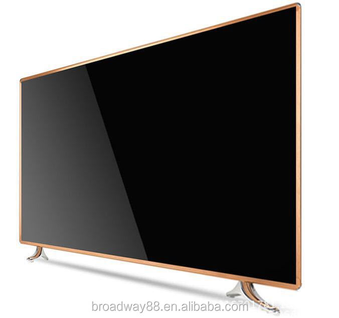 65 inch Black and Golden color Tempered glass LED TV with WIFI, Support 4K Video Display