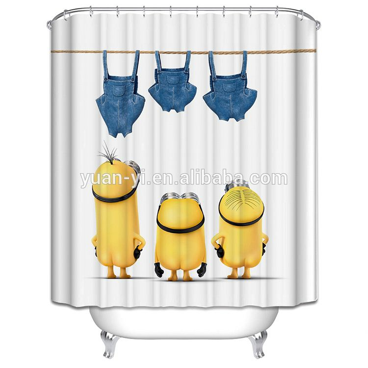 new design polyester pongee shower curtain