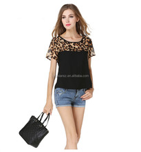 wholesale low price high quality Newest women fashion tops, leopard printed lady blouse OCW3845