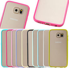 New Fashion PC Matte Back + TPU Bumper for Samsung Galaxy S6, Clear Crystal Hard Back Cover Slim Case for Samsung S6