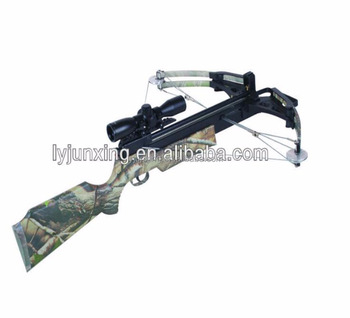 wooden and camo compound crossbow