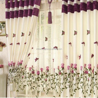Elegant red butterfly pattern living room window curtain