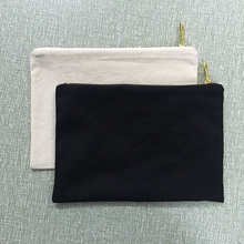 Blank natural cotton canvas cosmetic bag plain cosmetic pouch 7x10 inches plain makeup bag