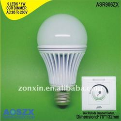factory direct wholesale+best price!110V 220V 9W LED light Bulb 900lm energy saving lamp LED Light E27 Aluminum + Glass