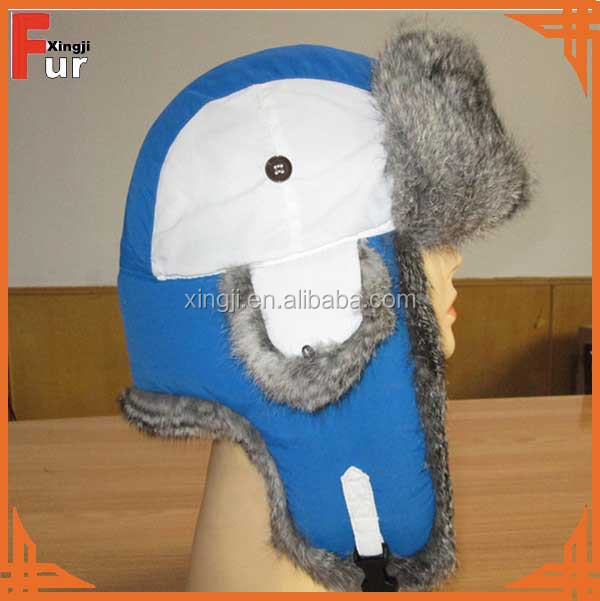 Top quality fashion real rabbit fur hat/russian fur hat with earflap