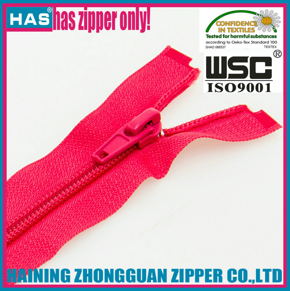 HAS zipper red color two sliders nylon zipper decorative zipper pulls garments double sided zip